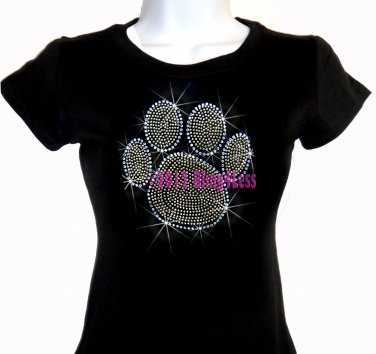 Large GOLD Paw Print - Rhinestone Iron on - Junior Fitted Black T-Shirt - Bling School Mascot Top
