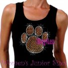 Large ORANGE Paw Print - Iron on Rhinestone - Junior Black TANK TOP - Bling School Mascot Top