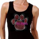 Large RED Paw Print - Iron on Rhinestone - Junior Black TANK TOP - Bling School Mascot Top