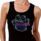 Large ROYAL BLUE Paw Print - Iron on Rhinestone - Junior Black TANK TOP - Bling School Mascot Top