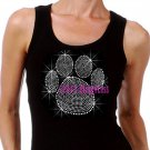Large SILVER Paw Print - Iron on Rhinestone - Junior Black TANK TOP - Bling School Mascot Top