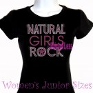 Natural Girls Rock - Neon Pink - Iron on Rhinestone - Junior Fitted Black T-Shirt - Bling Hair Top