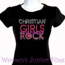 Christian Girls Rock - Neon Pink - Iron on Rhinestone - Junior Fitted Black T-Shirt -Bling Jesus Top