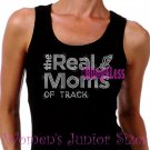 The Real Moms of - TRACK - Iron on Rhinestone - Junior Black TANK TOP - Sports Mom Shirt