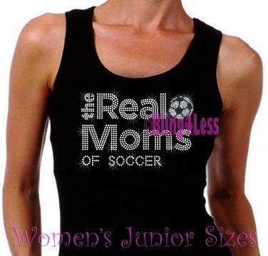 The Real Moms of - SOCCER - Iron on Rhinestone - Junior Black TANK TOP - Sports Mom Shirt