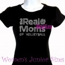 The Real Moms of - VOLLEYBALL - Iron on Rhinestone - Junior Fitted Black T-Shirt - Sports Mom Top