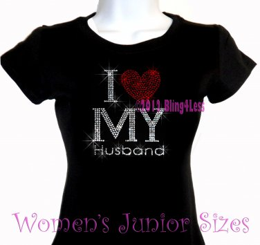 I Love My Husband - Red Heart - Iron on Rhinestone - Junior Fitted Black T-Shirt - Bling Top