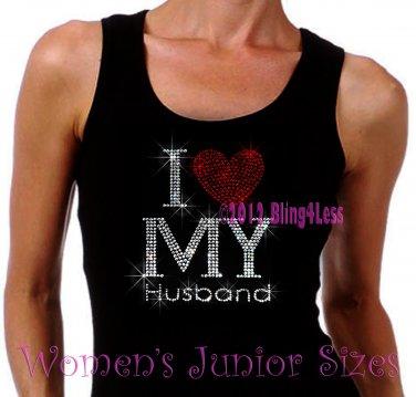 I Love My Husband - Red Heart - Iron on Rhinestone - Junior Black TANK TOP - Bling Shirt