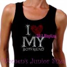 I Love My Boyfriend - Red Heart - Iron on Rhinestone - Junior Black TANK TOP - Bling Shirt