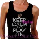 Keep Calm and Play On - FOOTBALL - Iron on Rhinestone - Junior Black TANK TOP - Sports Mom Shirt