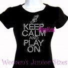 Keep Calm and Play On - TRACK - Iron on Rhinestone - Junior Fitted Black T-Shirt - Sports Mom Top