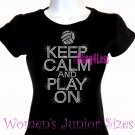 Keep Calm and Play On - VOLLEYBALL - Iron on Rhinestone -Junior Fitted Black T-Shirt -Sports Mom Top