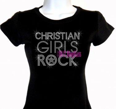 Christian Girls Rock - SILVER - Iron on Rhinestone - Junior Fitted Black T-Shirt -Bling Jesus Top