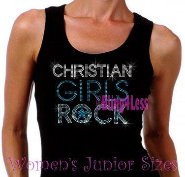 Christian Girls Rock - TURQUOISE - Iron on Rhinestone - Junior Black TANK TOP - Bling Jesus Shirt
