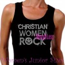 Christian Women Rock - CLEAR - Iron on Rhinestone - Junior Black TANK TOP - Bling Jesus Shirt