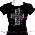 Zigzag Cross - B & W - Iron on Rhinestone - Junior Fitted Black T-Shirt - Bling Top