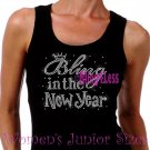 Bling in the New Year - Iron on Rhinestone - Junior Black TANK TOP - Happy New Year Bling Shirt