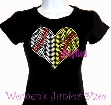 Large Split Sports Heart -Baseball Softball- Iron on Rhinestone - Junior Fitted Black T-Shirt - Top