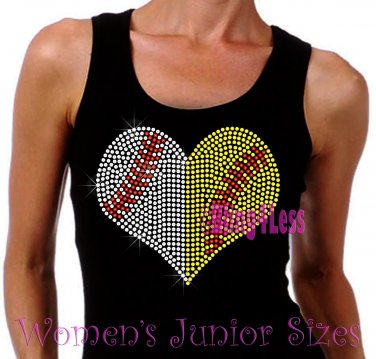Large Split Sports Heart -Baseball Softball- Iron on Rhinestone - Junior Black TANK TOP - Shirt
