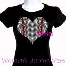 Large Baseball Heart - Iron on Rhinestone - Junior Fitted Black T-Shirt - Sports Mom Top