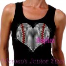 Large Baseball Heart - Iron on Rhinestone - Junior Black TANK TOP - Sports Mom Shirt