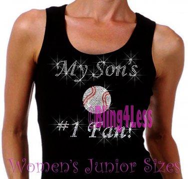 My Son's #1 Fan - BASEBALL Mom - Iron on Rhinestone - Junior Black TANK TOP - Sports Mom Shirt