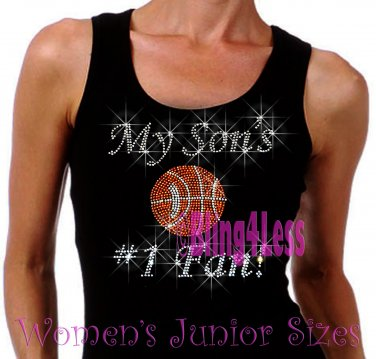 My Son's #1 Fan - BASKETBALL Mom - Iron on Rhinestone - Junior Black TANK TOP - Sports Mom Shirt