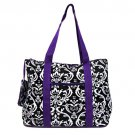 Large Black Damask Tote in Purple