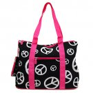 Large Black Peace Sign Tote in Hot Pink