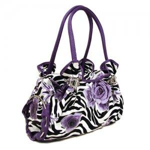 Zebra Roses Handbag in Purple