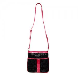 Damask Cross Body Bag in Black and Pink