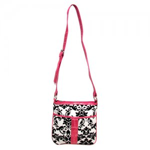 Damask Cross Body Bag in White and Pink