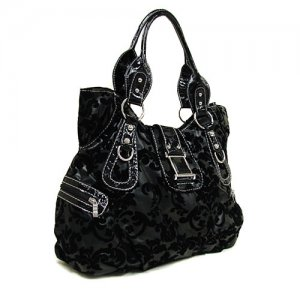 Black Damask Handbag in Black
