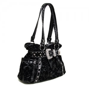 Damask Buckle Handbag in Black