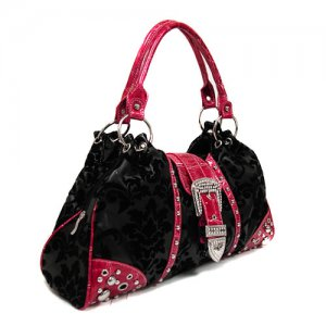 Damask Buckle Satchel in Black and Pink