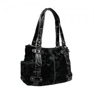 Floral Damask Handbag in Black