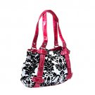 Floral Damask Handbag in White and Pink