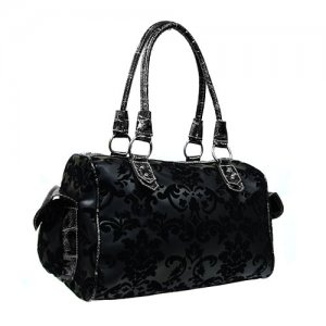 Floral Damask Satchel in Black