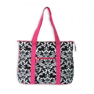 Black Damask Tote Bag in Pink