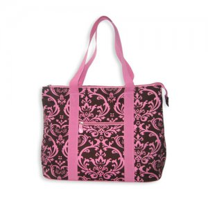Damask Tote Bag in Brown and Pink