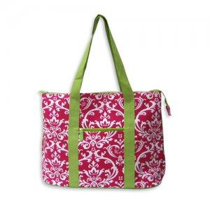Pink and Green Damask Tote Bag
