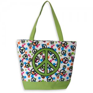 Peace Sign Tote in Green