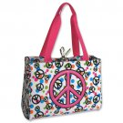 Pink Peace Sign Diaper Bag