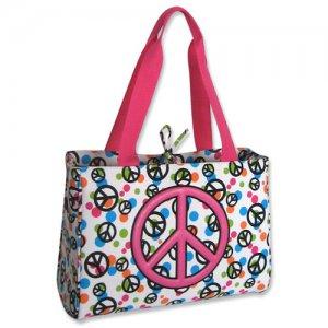 Pink Peace Sign Diaper Bag