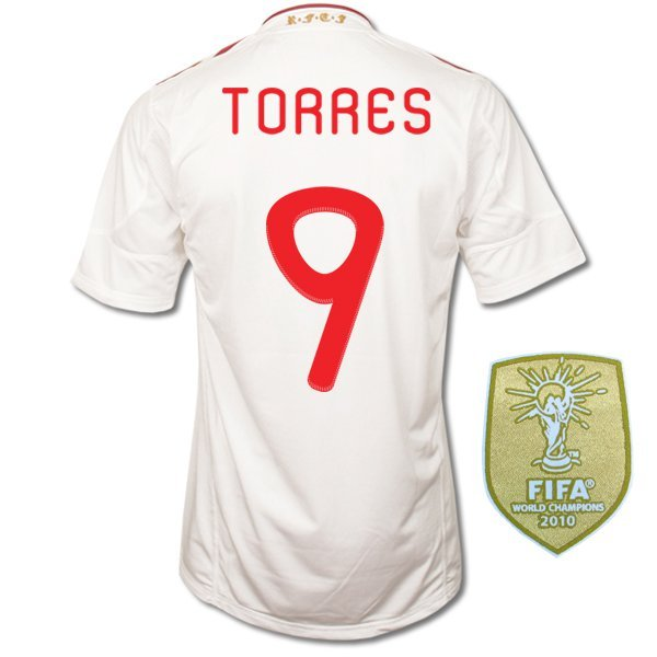 SPAIN Away Size M TORRES #9 +World Champions Patch New White 2011