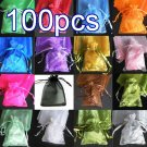 100pcs Mixed Colorful 9x6.6inch(23x17cm) Organza Bag Pouch for Gift Jewelry Solid Color