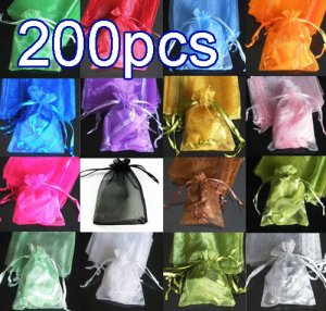 200pcs Mixed Colorful 4.7x6.6inch(12x17cm) Organza Bag Pouch for Gift Jewelry Solid Color