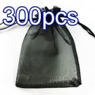 Black 4.7x6.5inch(12x17cm) Organza Bag Pouch for Gift Jewelry Solid Color