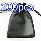 Black 6.5x9inch(17x23cm) Organza Bag Pouch for Gift Jewelry Solid Color