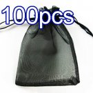 Black 7.8x11.8inch(20x30cm) Organza Bag Pouch for Gift Jewelry Solid Color